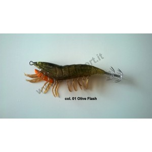 Savage gear 3d hybrid shrimp 7,5cm 12gr egi jig mirror col. 01 olive flash - savage gear